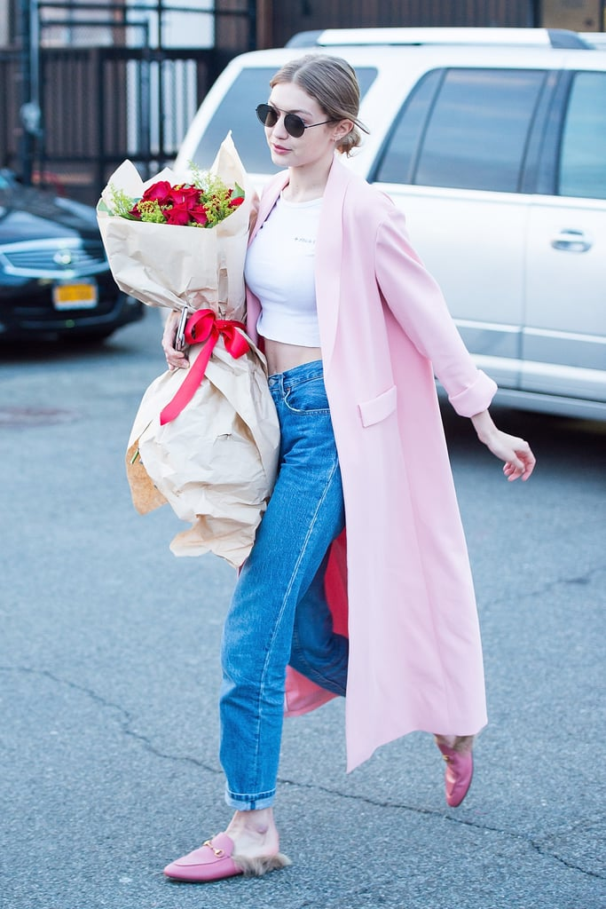 She Finished Off Her Look With Pink Gucci Fur-Lined Loafers