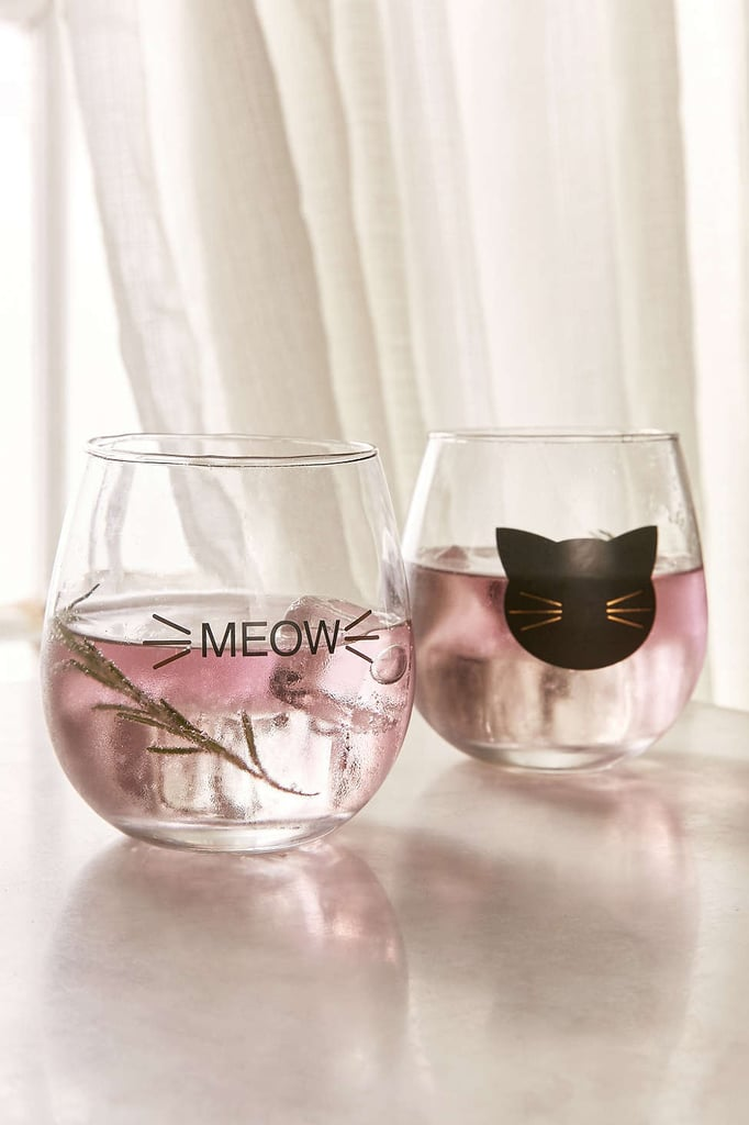 Meow Stemless Wine Glass Set ($16)