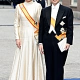Crown Prince Naruhito and Crown Princess Masako of Japan smiled following the ceremony.