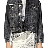 Sandro Ambre Mirrored Stud Denim Jacket