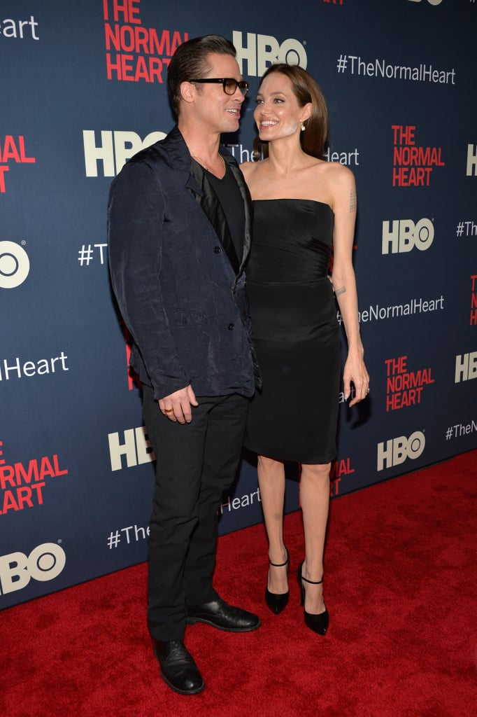 There were several A-listers at Monday's screening of The Normal Heart in NYC, but Brad Pitt and Angelina Jolie only had eyes for each other. Brad, a producer on the film, hit the red carpet with Angelina to pose for pictures. It's been a busy week for the pair, as last Thursday they brought their son Maddox along for a Maleficent event in London held at Kensington Palace. Actors and actresses from the Normal Heart cast, which includes stars like Julia Roberts and Mark Ruffalo, also made appearances at the screening. The TV movie is bringing the stage play of the same name to the big screen, with Glee's Ryan Murphy directing the HBO project. The film also stars Taylor Kitsch, Matt Bomer and Jim Parsons, who all stepped out for Monday's screening. Take a look at all the celebrities at the event below.