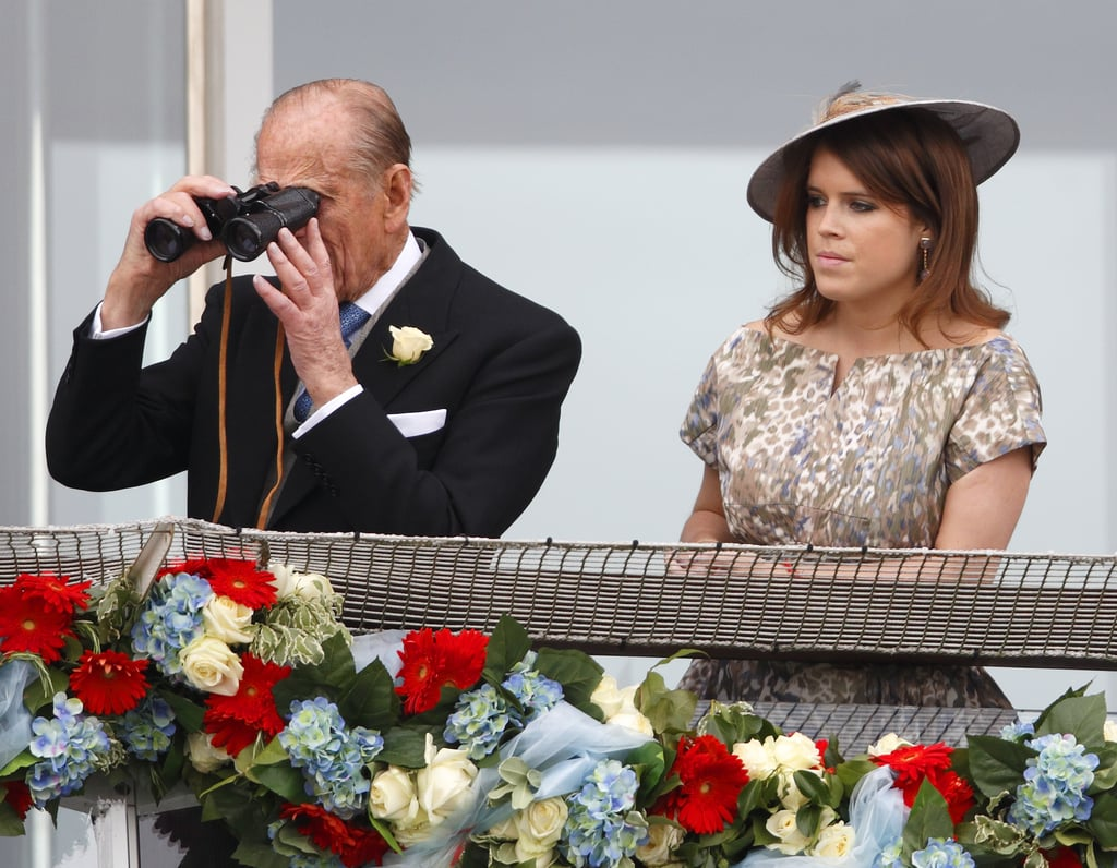 Philip watched the Derby Day races with Princess Eugenie in June 2013.