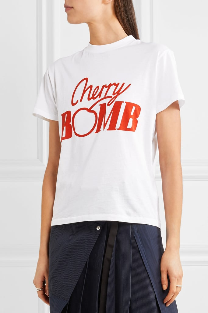 Ganni Harvard Printed Cotton-Jersey T-Shirt ($60)