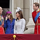 Philip chatted with Beatrice, Kate, and William during the annual Trooping the Colour in June 2012.