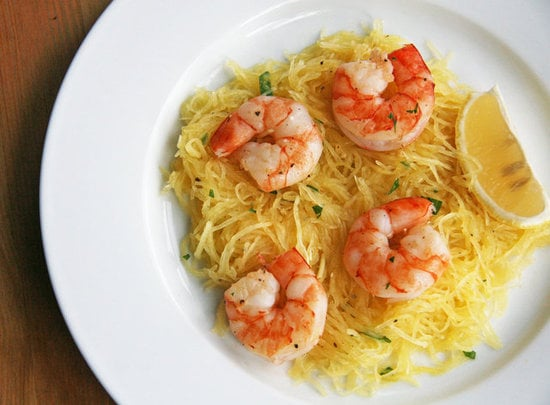 Lunch and Dinner: Prawns Over Spaghetti Squash