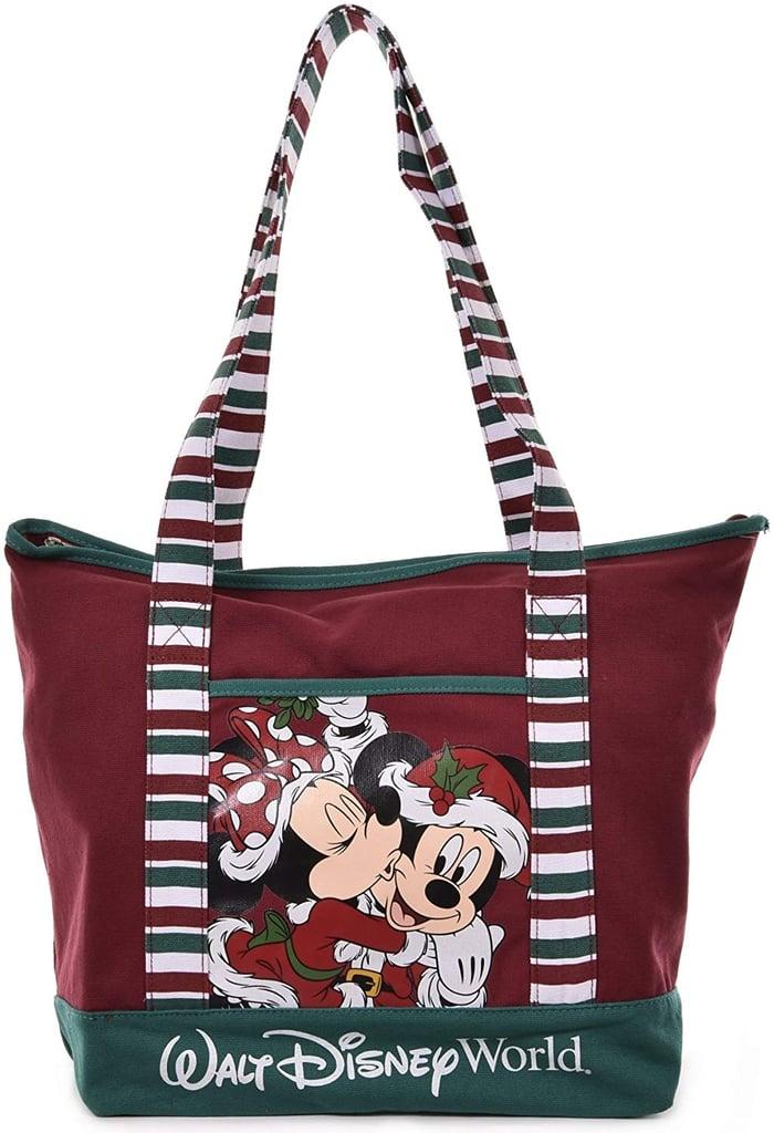Disney Santa Mickey & Minnie Mouse Christmas Holiday Tote Bag
