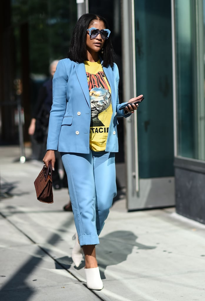 Wear Funky Sunglasses, Bright Blue Separates, and a Graphic Tee