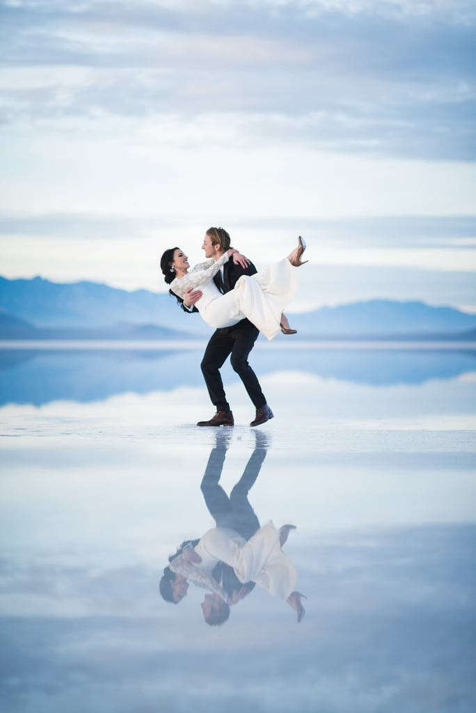 Ethen (from MTV's Nitro Circus) and Heather hosted their big day right by the Bonneville Salt Flats in Utah. See the wedding here!