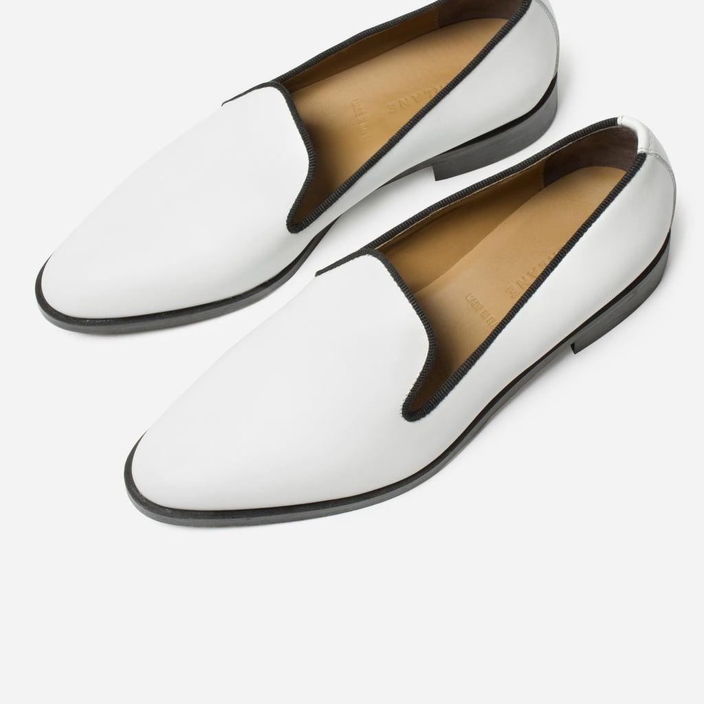 """""""Just watch how these sleek white Everlane Loafers ($160) perk up your outfits on even the dreariest Winter days."""" — HWM"""