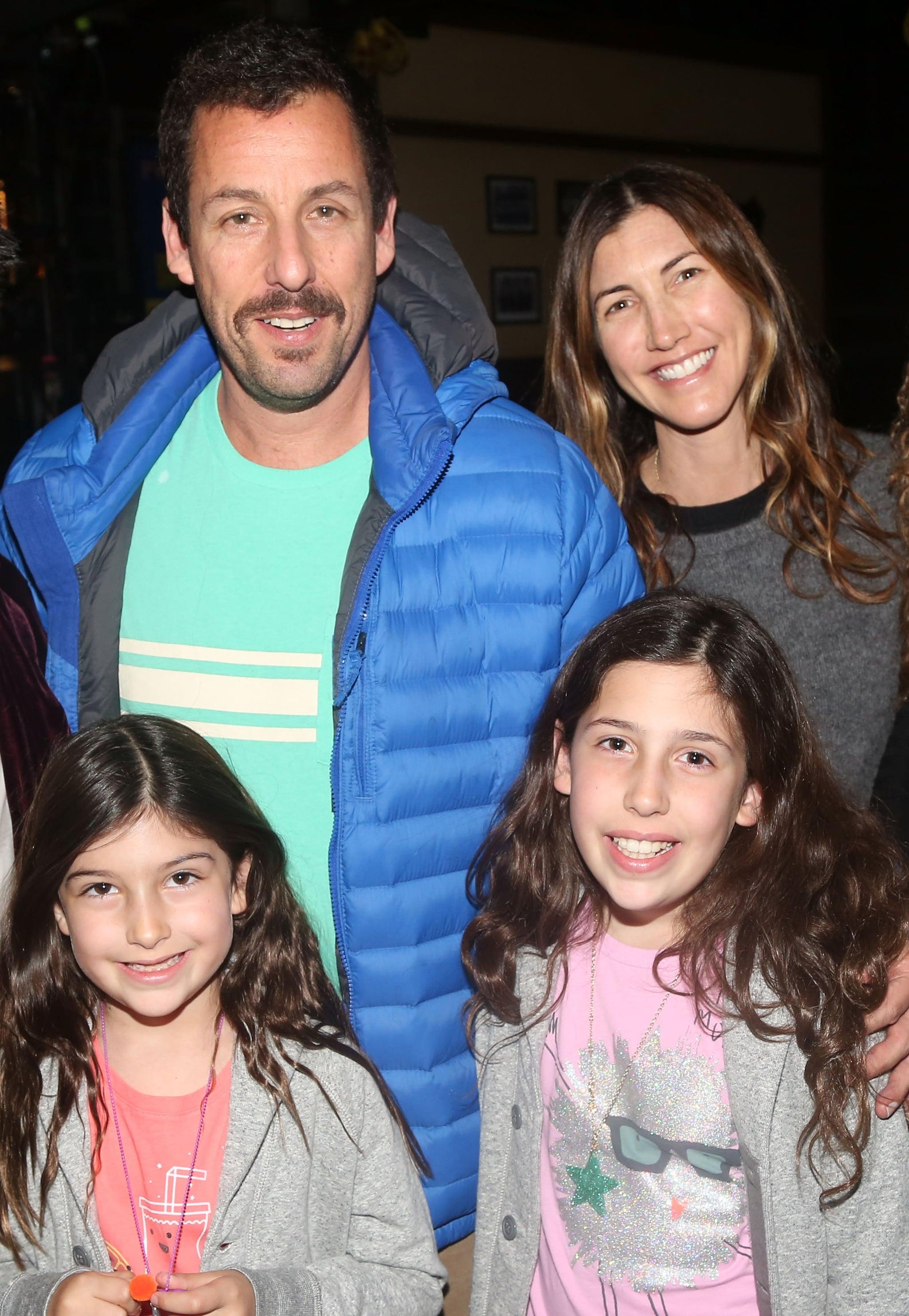 NEW YORK, NY - MARCH 23:  (EXCLUSIVE COVERAGE) (L-R) Sunny Sandler, Adam Sandler, Sadie Sandler and Jackie Sandler pose backstage at the hit musical
