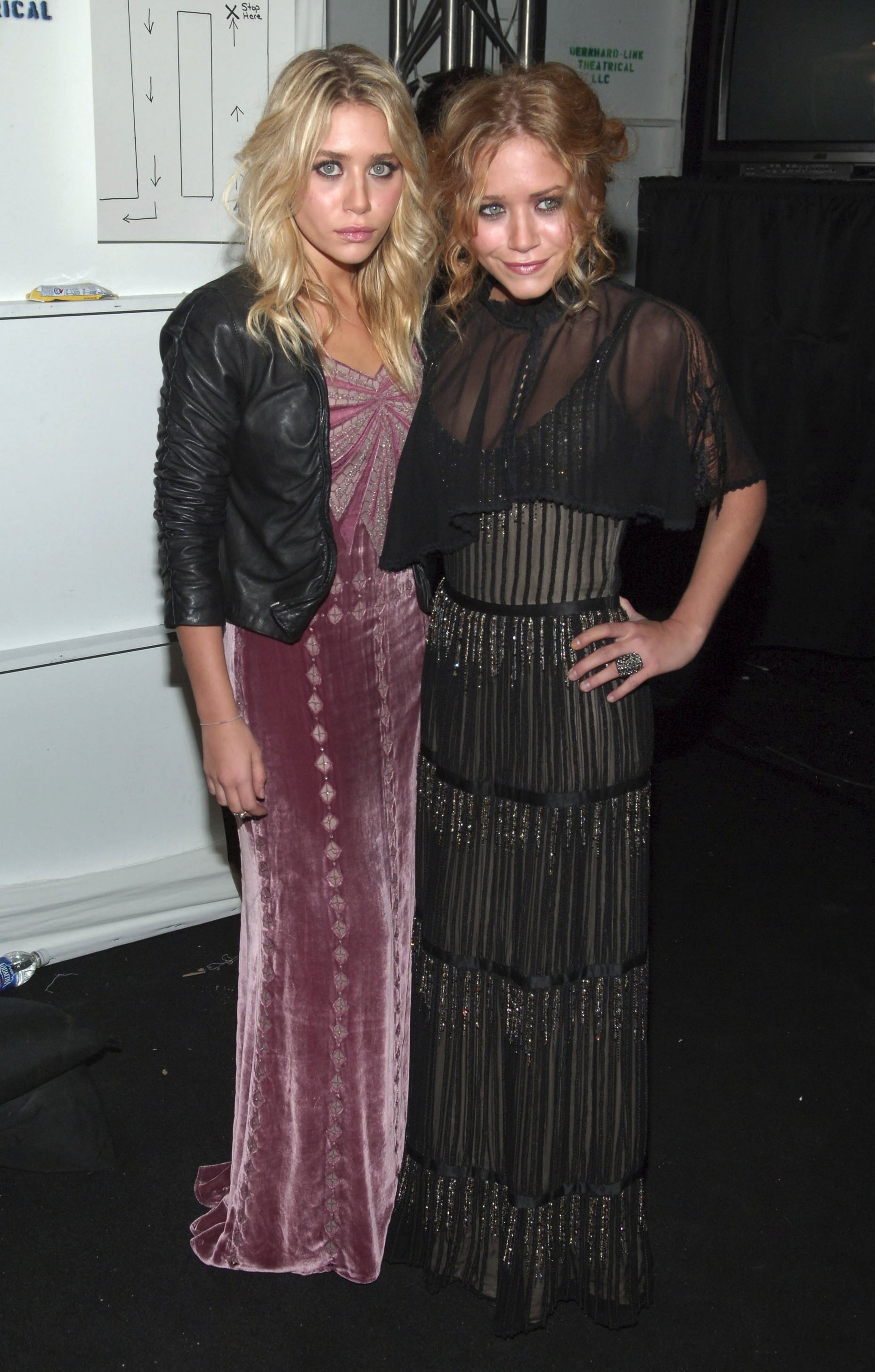 Twinning combo: During Fall 2006 NYFW season, the designing duo opted for decadent gowns and soft curls.  Ashley roughed up her blush velour gown, complete with sparkling bodice, with a cropped leather jacket. Mary-Kate's sheer, tiered, and bead-embellished gown was absolutely stunning.