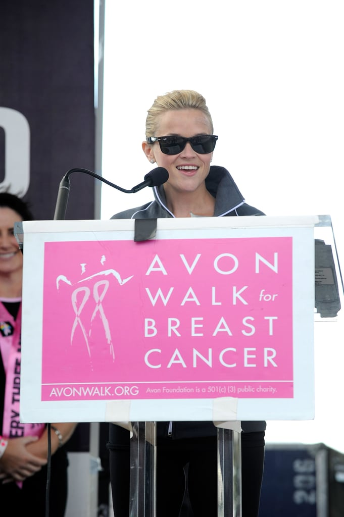 Reese spoke at the Walk for Breast Cancer event.