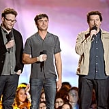 Seth Rogen, Zac Effron, and Danny McBride got together on stage to present an award.