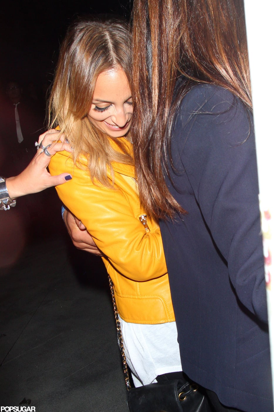 Nicole Richie wore a trendy leather jacket.