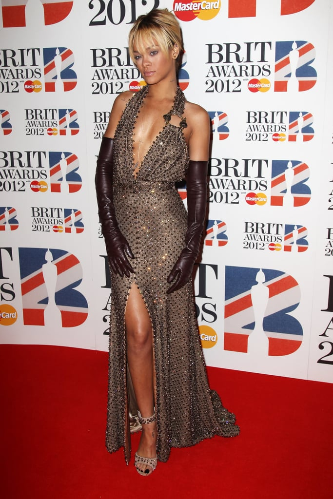 Rihanna's dress had a slit in the front and the back.
