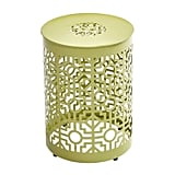 Green Metal Trellis Garden Stool