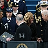 Vice President Joe Biden and Beyonce shared a moment on stage on Inauguration Monday.