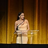 Eva Longoria wore a peach gown to the 2013 Latino Inaugural event Sunday evening.