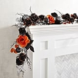 Pier 1 Imports Black, Silver & Orange Halloween Garland