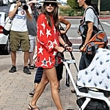 Alessandra Ambrosio pushed Noah in his stroller in LA.