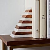 West Elm Striped Marble + Wood Bookend ($49)