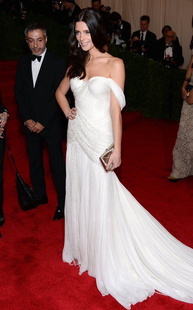 Ashley Greene's long train trailed loosely behind her.