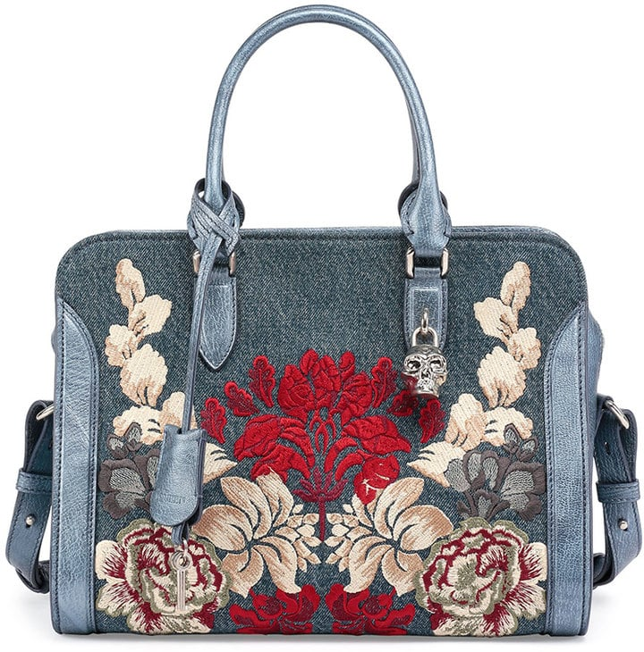 Alexander McQueen Padlock Small Denim Satchel Bag w/Floral Embroidery ($2,245)