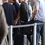 David Beckham went through the security line at LAX.