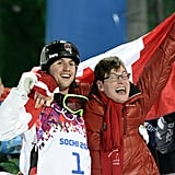 In what may be this year's sweetest Olympic victory, Canadian freestyle skier Alex Bilodeau won the gold medal for his moguls performance and got a big hug from his proud brother, Frederic, who has cerebral palsy.