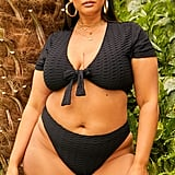 In the Style Curve Latecia Black Textured Super High Waisted Bikini Bottoms
