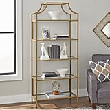 Bookcase With Gold Finish Open Shelving