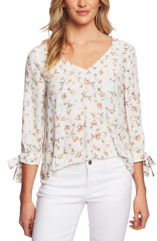CeCe Floral Tie Sleeve Blouse