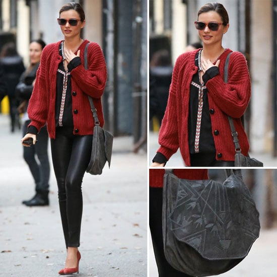 Miranda Kerr in Leather Leggings and Red Sweater