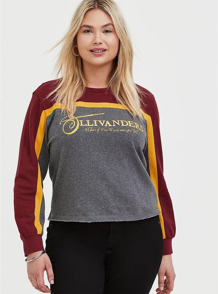 Harry Potter Ollivanders Grey Fleece Crop Sweatshirt