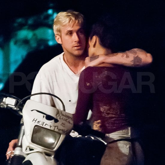Eva Mendes and Ryan Gosling film The Place Beyond the Pines.