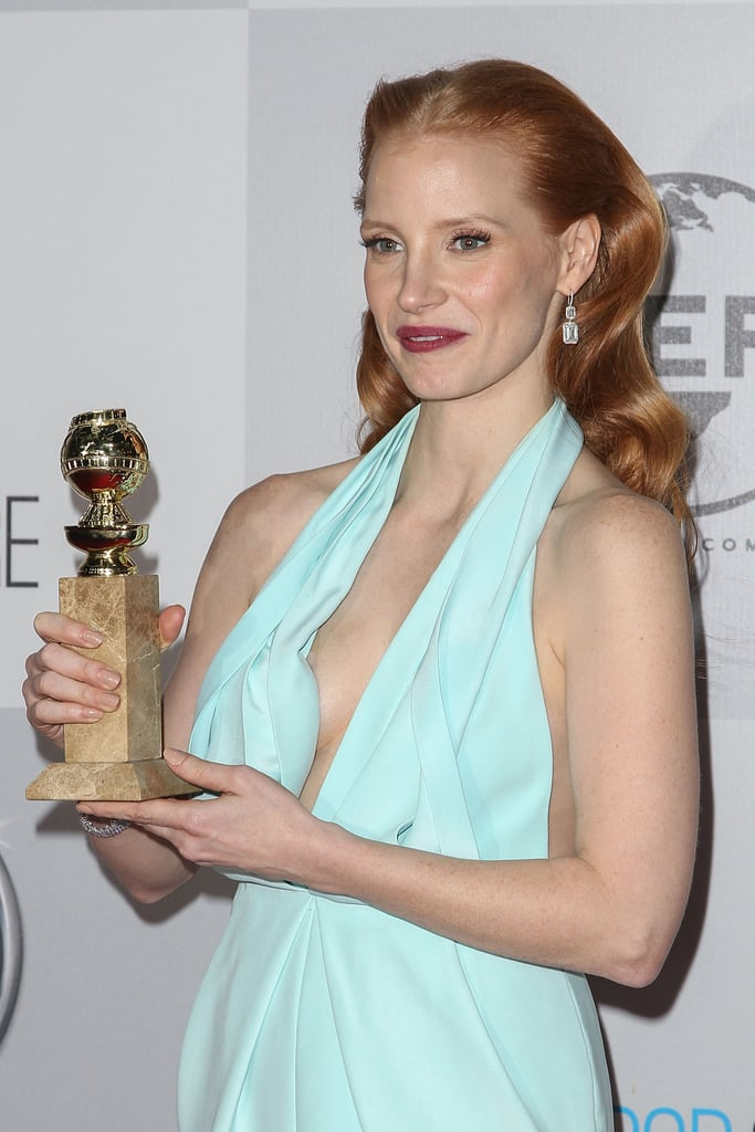 Jessica Chastain arrived at the NBC after party with her award.