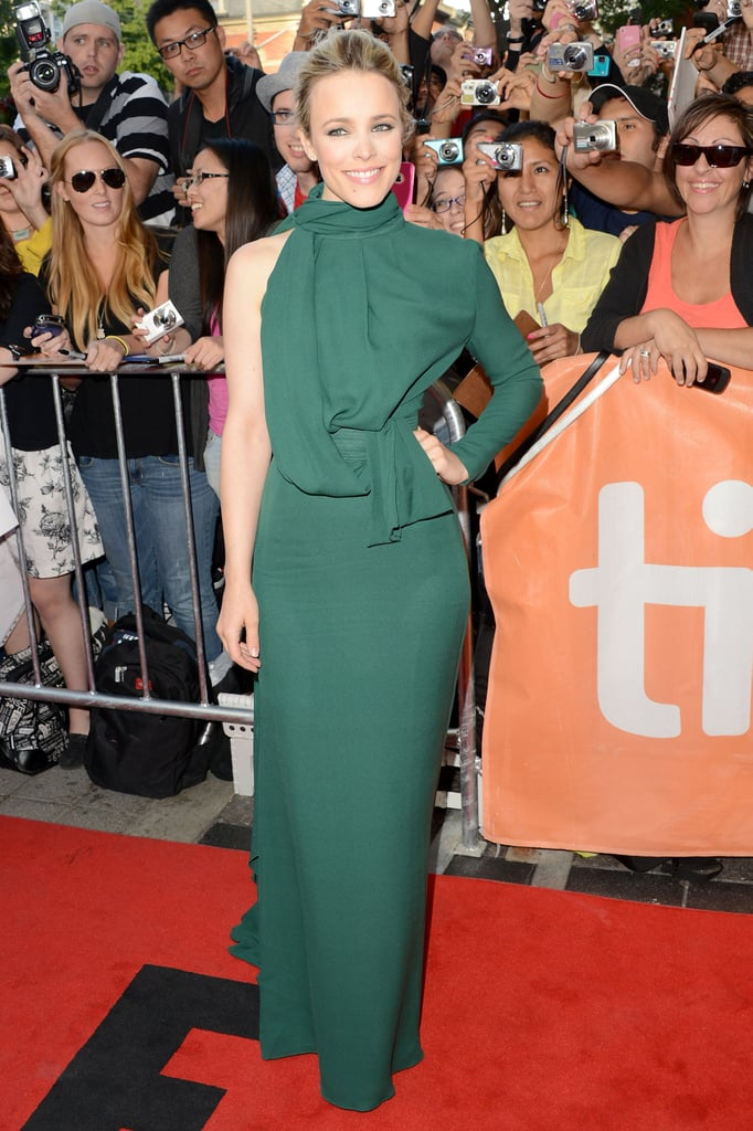 Canadian fans gave Rachel McAdams a warm welcome at last night's To the Wonder TIFF premiere. She stepped out in a lovely green gown and was joined on the carpet by costar Olga Kurylenko, also wearing a similar emerald hue. Olga and Rachel were on hand representing the ensemble cast that also includes Ben Affleck and Javier Bardem. Rachel's boyfriend, Michael Sheen, also landed a part in the film; however, director Terrence Malick cut out his role in addition to Rachel Weisz's and Amanda Peet's. This isn't the last premiere of the week for Rachel; her dramatic thriller Passion is also screening throughout the week at this year's Toronto International Film Festival. We're on the scene, so be sure to follow us on Twitter for all the latest updates, news, and photos from the festival.