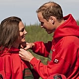 William adorably helped Kate adjust her jacket during their royal tour of Canada in July 2011.