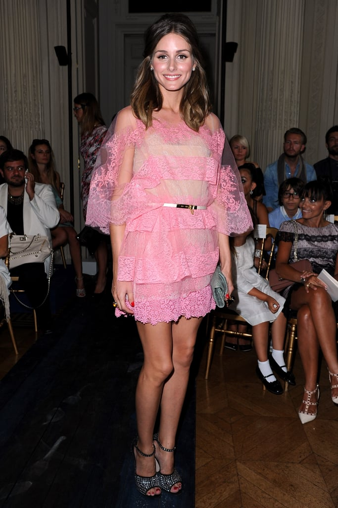 Olivia Palermo was the picture of feminine chic in a frothy pink Valentino mini at the designer's couture runway show in July.
