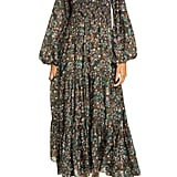 Rixo Brooke Smocked Long Sleeve Maxi Dress
