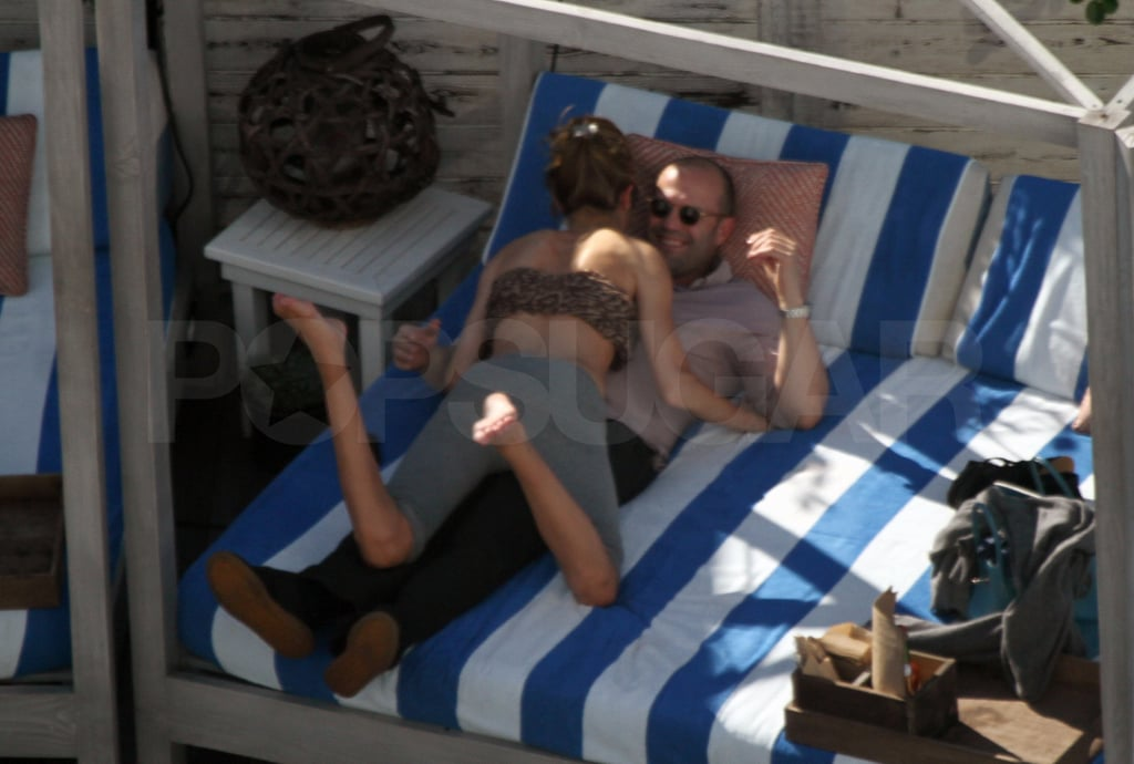 Rosie and Jason joked around by the pool.