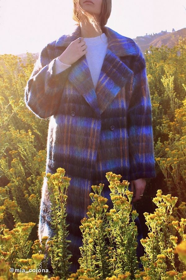 UO Oversized Plaid Wool Overcoat