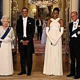Barack, Michelle, Prince Philip, and Queen Elizabeth II looked regal at a state banquet at Buckingham Palace in 2011.