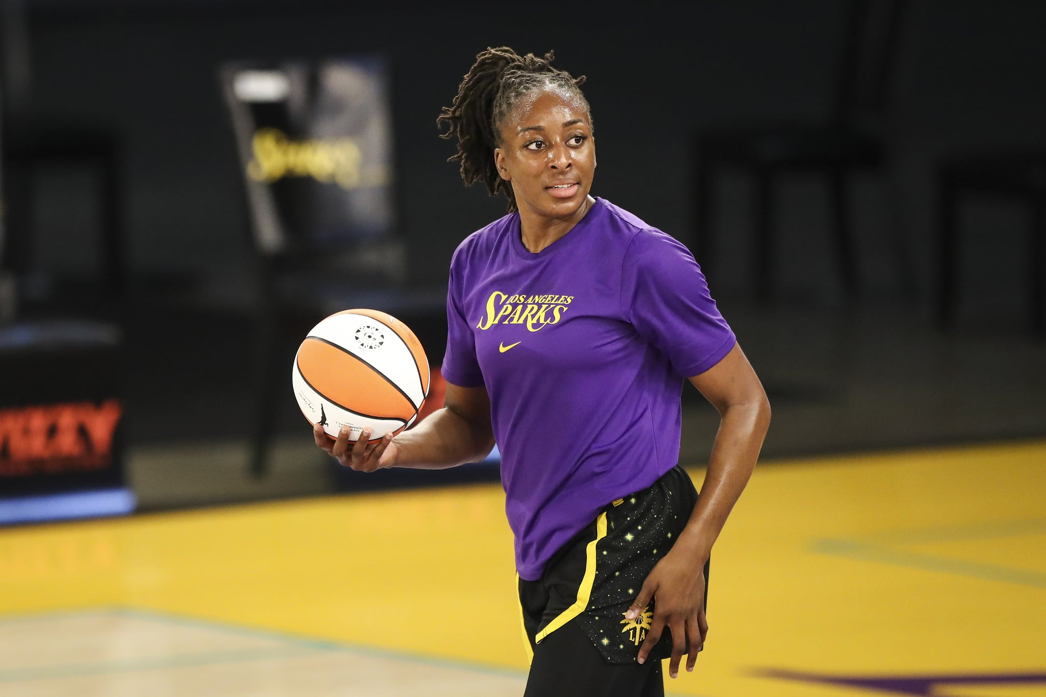 LOS ANGELES, CALIFORNIA - MAY 14: Forward Nneka Ogwumike #30 of the Los Angeles Sparks warms up before the game against the Dallas Wings at Los Angeles Convention Center on May 14, 2021 in Los Angeles, California. NOTE TO USER: User expressly acknowledges and agrees that, by downloading and or using this photograph, User is consenting to the terms and conditions of the Getty Images License Agreement. (Photo by Meg Oliphant/Getty Images)
