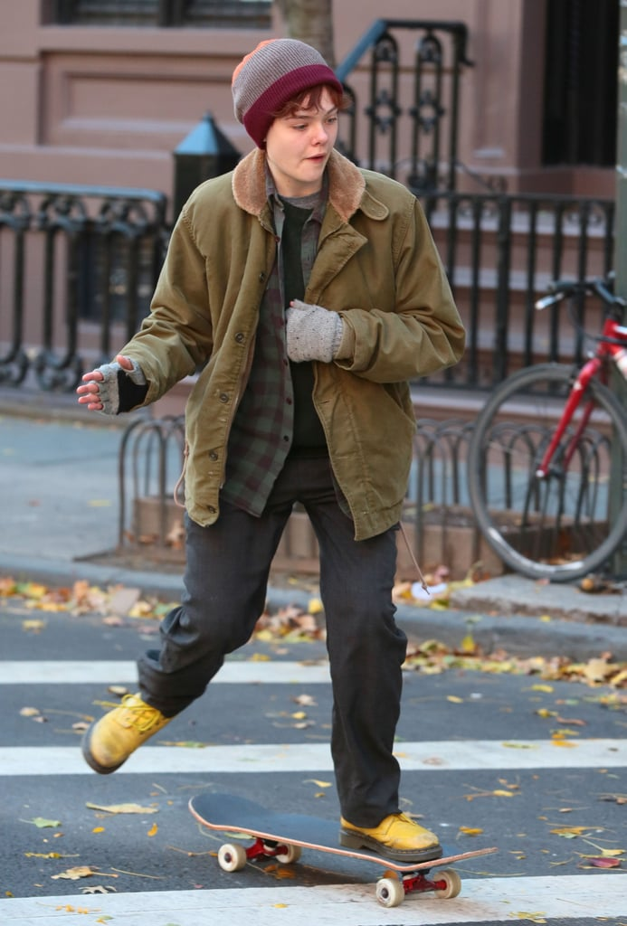 elle fanning looked unrecognizable on the set of her