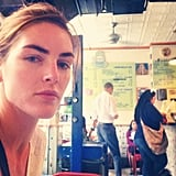 """Hilary Rhoda shared a relaxed snap after having """"the best massage"""" of her life."""" Source: Instagram user hilaryhrhoda"""