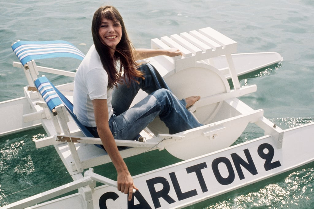 Jane Birkin had fun on a pedal boat during the festival in 1974.