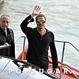 Brad Pitt Goes Boating in Paris — For Work!