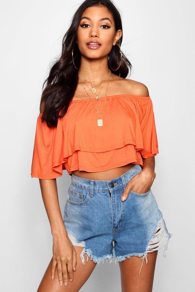 0f9bc7b002f Boohoo Off The Shoulder Frill Crop Top   Gigi Hadid Wearing Orange ...