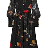 Oscar de la Renta Belted Printed Silk-Chiffon Dress